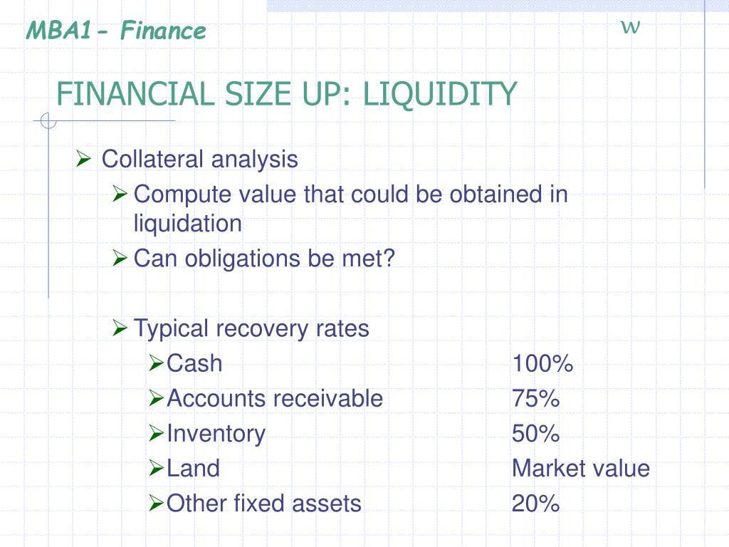 FINANCIAL SIZE UP: LIQUIDITY