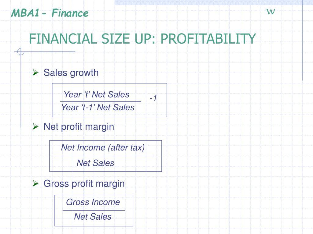 FINANCIAL SIZE UP: PROFITABILITY