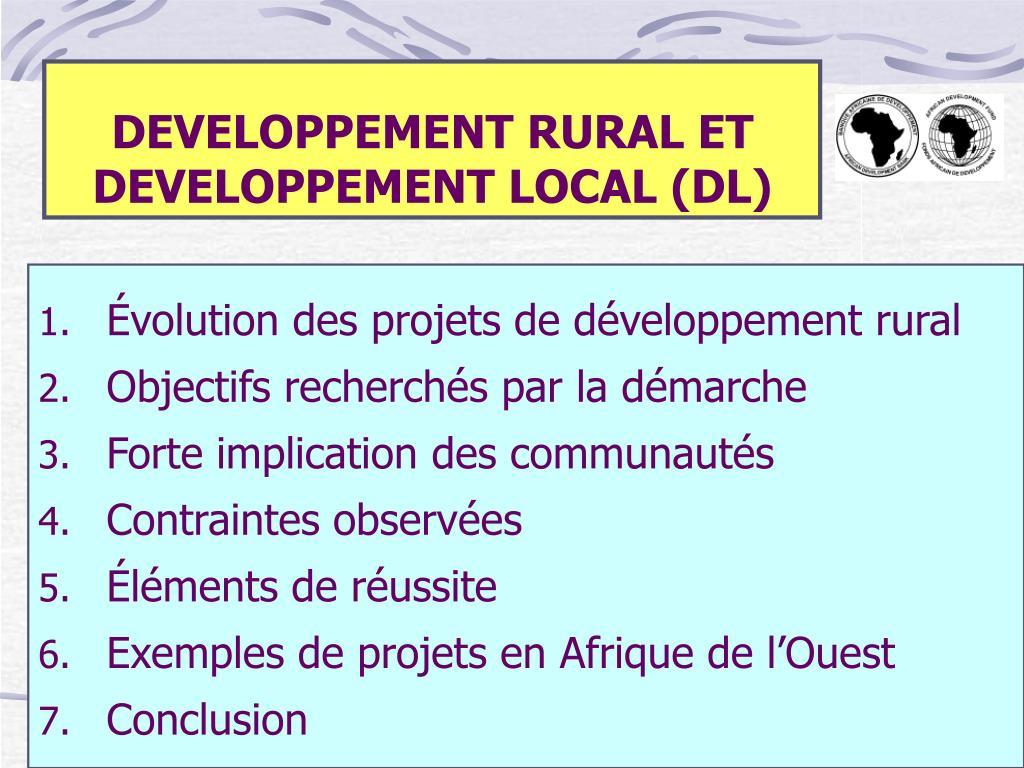 developpement rural et developpement local dl l.