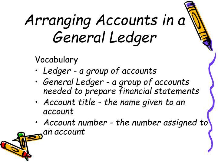 Arranging accounts in a general ledger