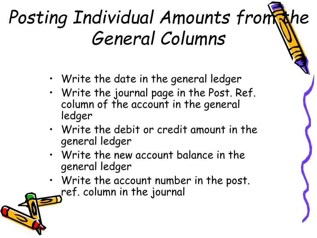 Posting Individual Amounts from the General Columns