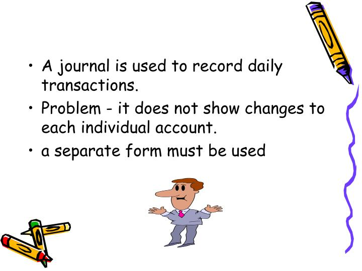A journal is used to record daily transactions.