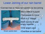 lower joining of our rain barrel