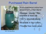 purchased rain barrel