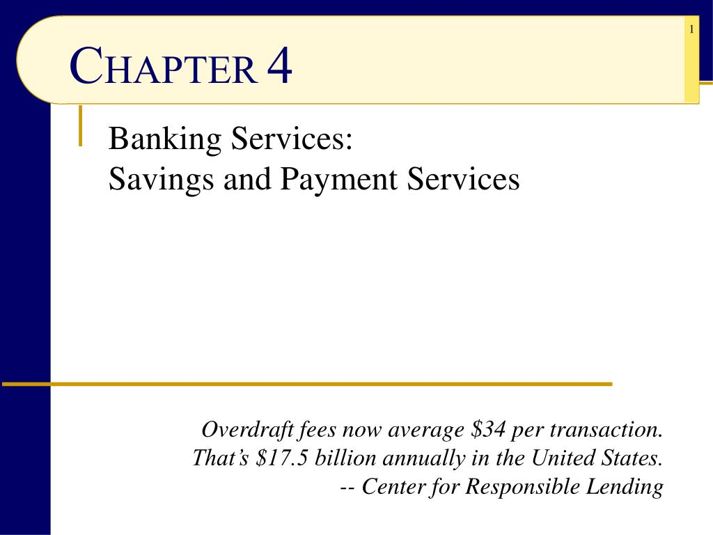 banking services savings and payment services l.