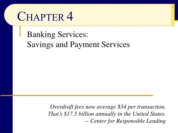 Banking services savings and payment services