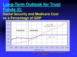 long term outlook for trust funds i social security and medicare cost as a percentage of gdp