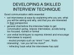 developing a skilled interview technique
