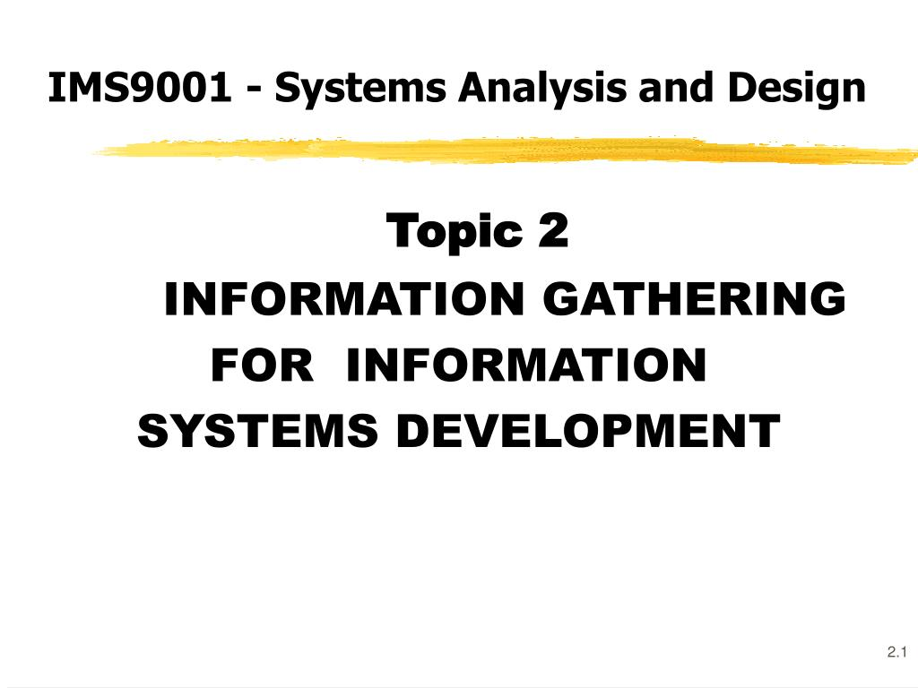 ims9001 systems analysis and design l.