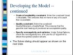 developing the model continued11