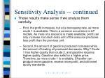 sensitivity analysis continued19