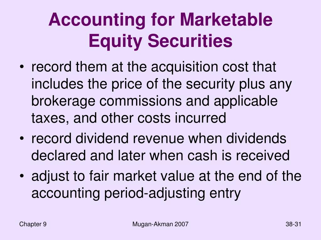 Accounting for Marketable Equity Securities