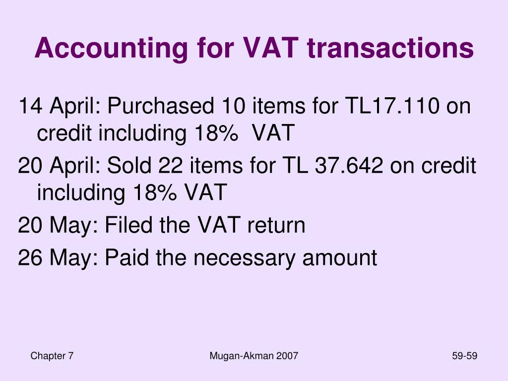 Accounting for VAT transactions