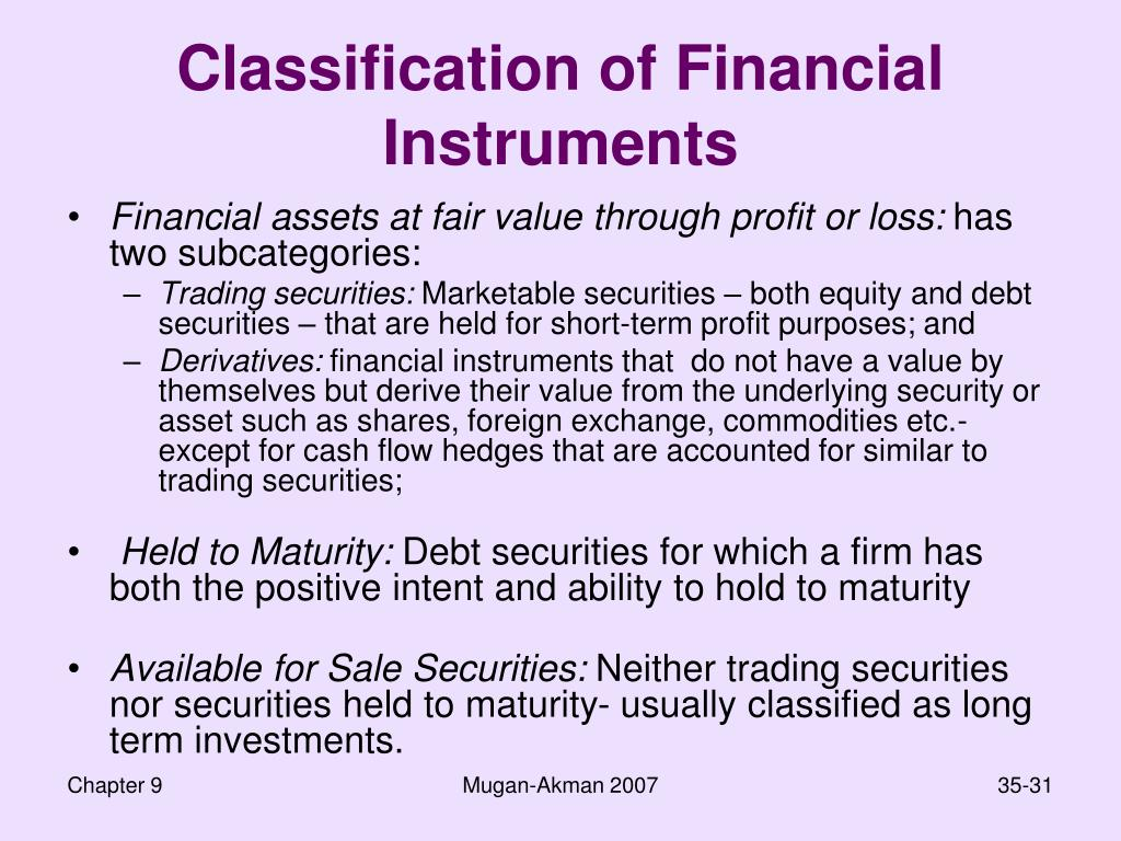 Classification of Financial Instruments