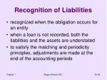 recognition of liabilities