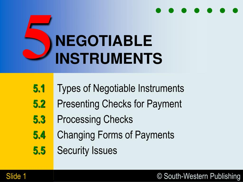 negotiable instruments l.