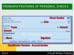standard features of personal checks