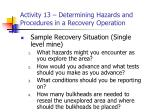 activity 13 determining hazards and procedures in a recovery operation23
