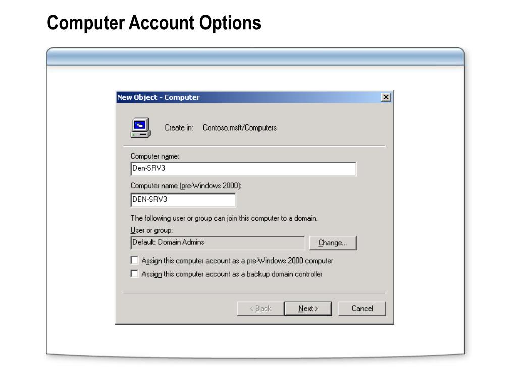 Computer Account Options
