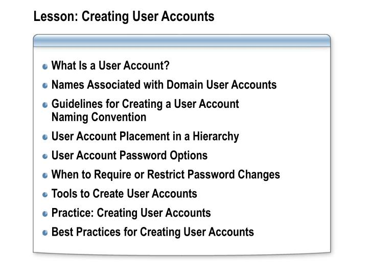 Lesson creating user accounts