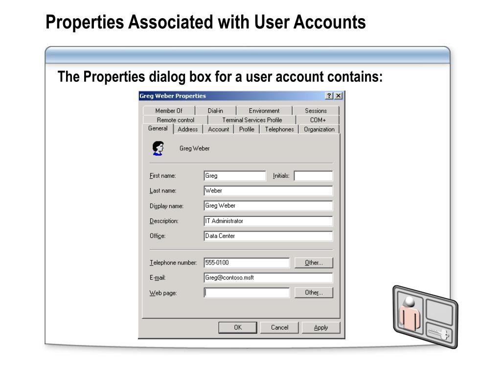Properties Associated with User Accounts
