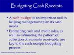 budgeting cash receipts