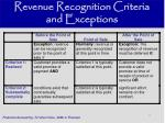 revenue recognition criteria and exceptions