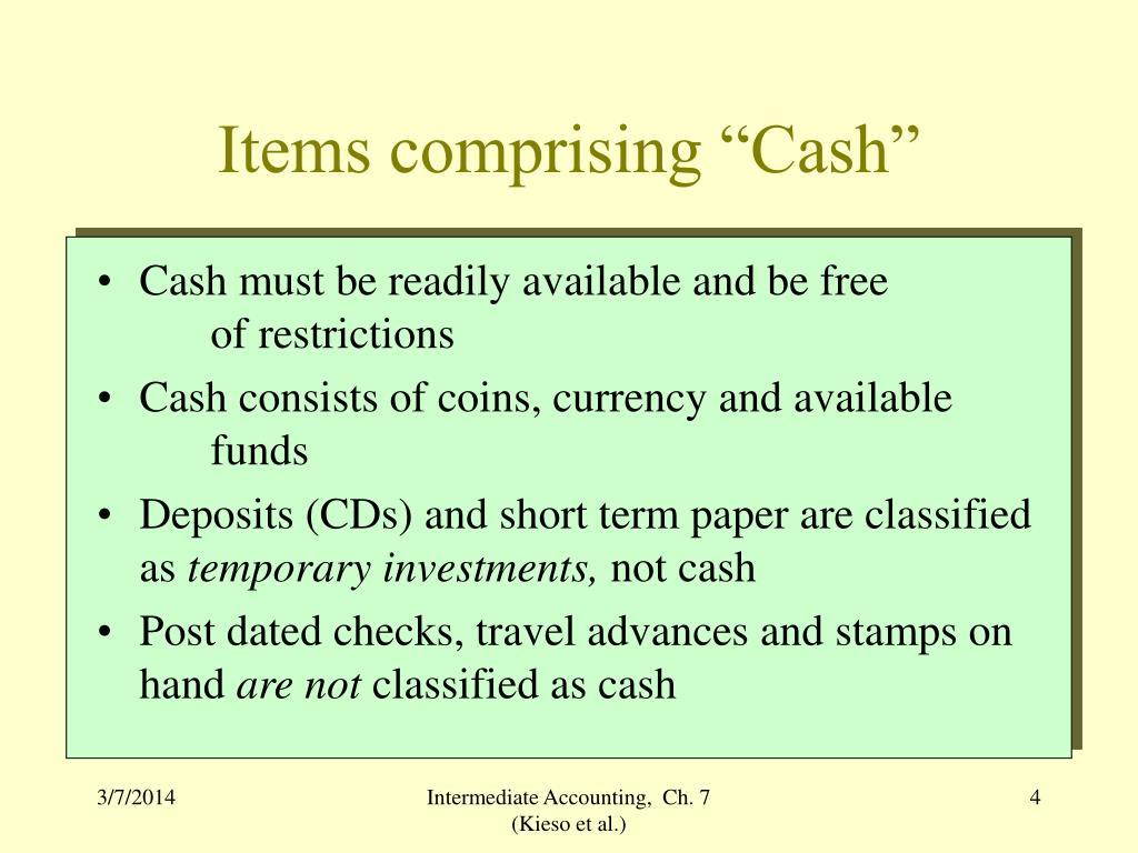 """Items comprising """"Cash"""""""