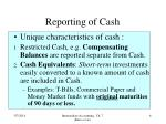 reporting of cash