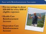 save with reimbursement accounts