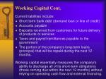 working capital cont