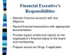 financial executive s responsibilities
