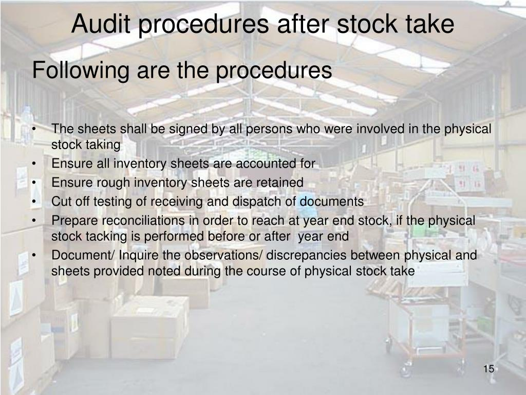 Audit procedures after stock take