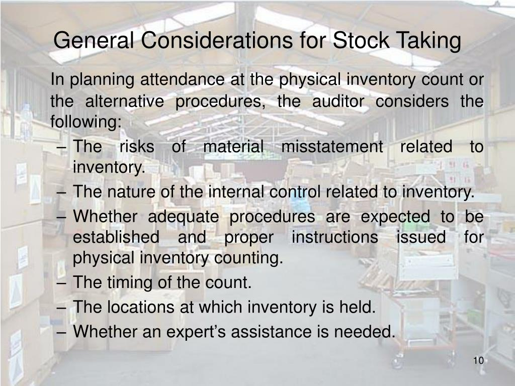 General Considerations for Stock Taking