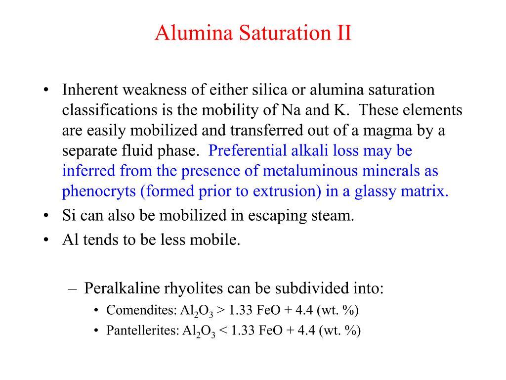 Alumina Saturation II