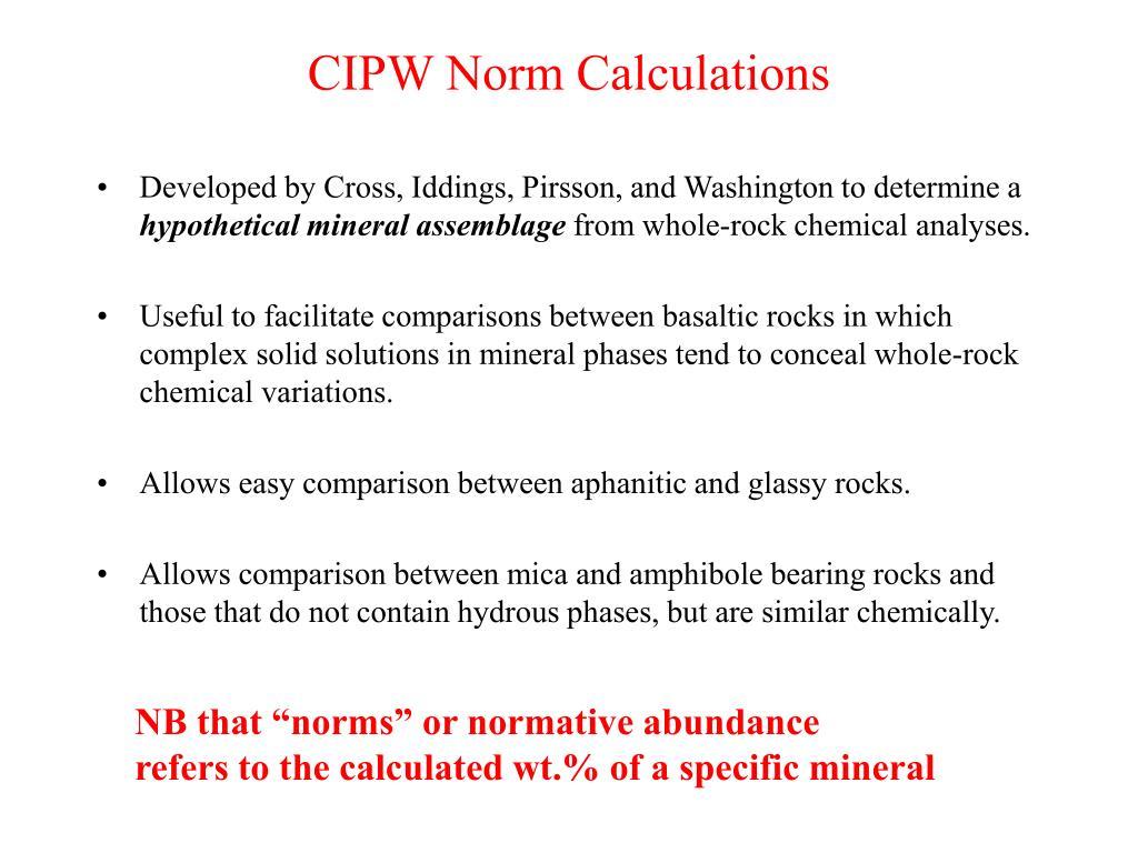 CIPW Norm Calculations