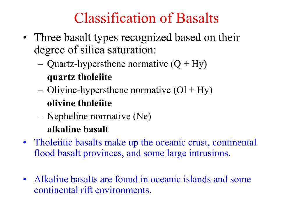 Classification of Basalts