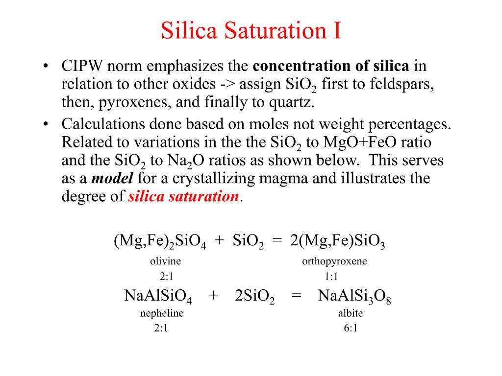 Silica Saturation I