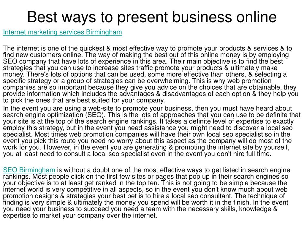 best ways to present business online l.