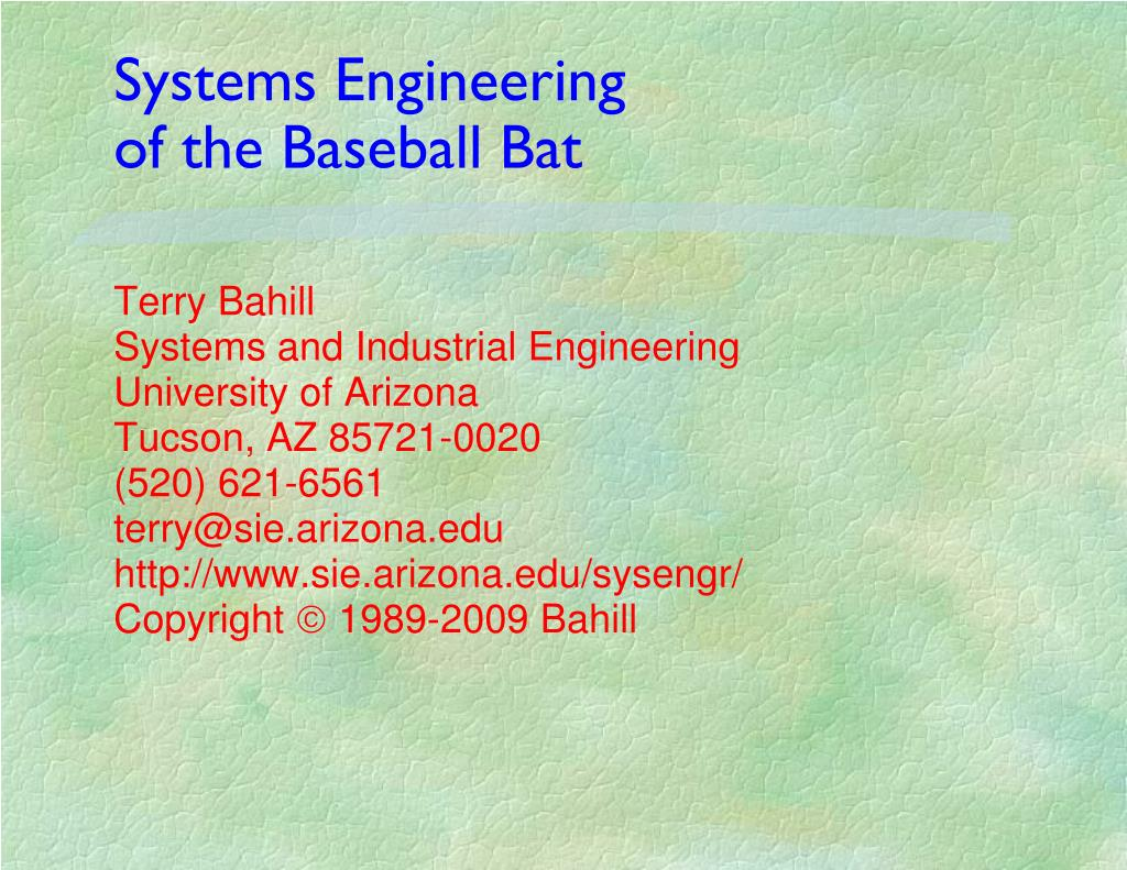 systems engineering of the baseball bat l.