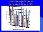 costs savings estimates by region system size