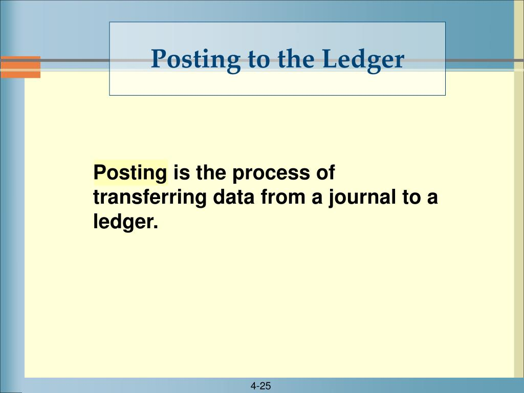 Posting is the process of transferring data from a journal to a ledger.