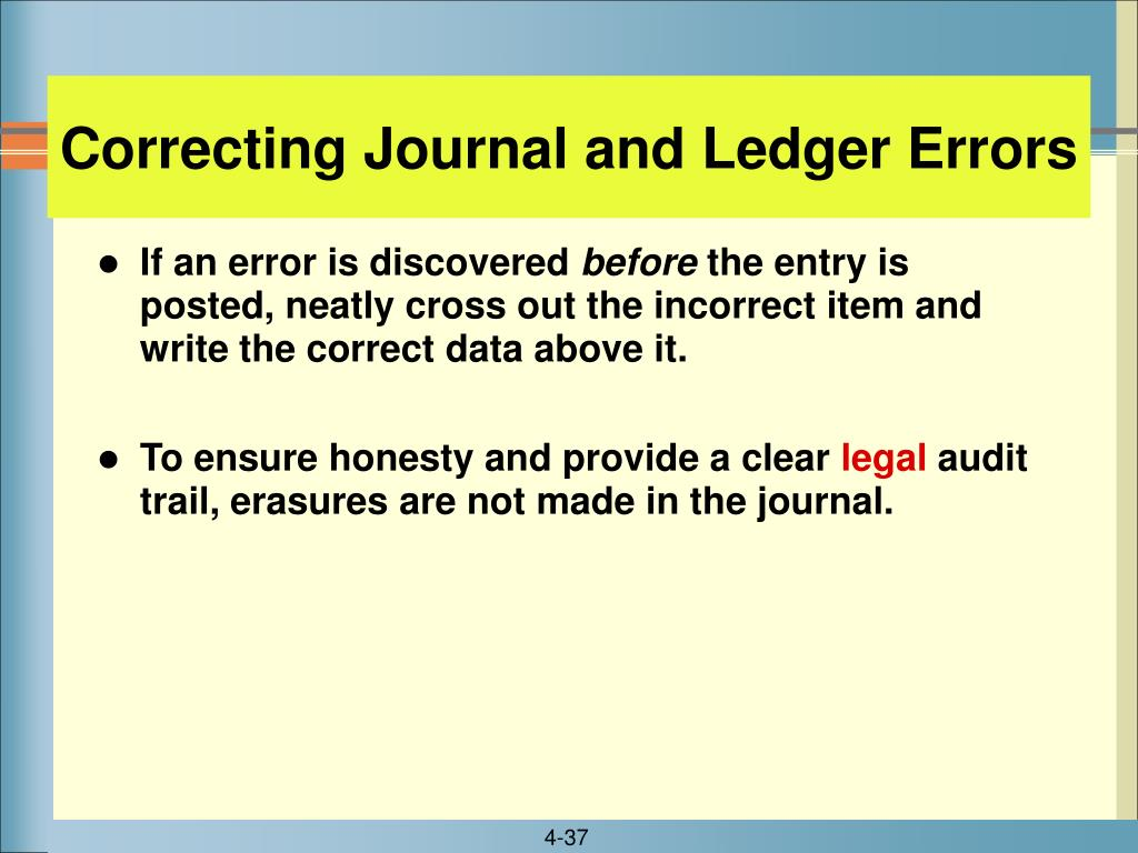 Correcting Journal and Ledger Errors