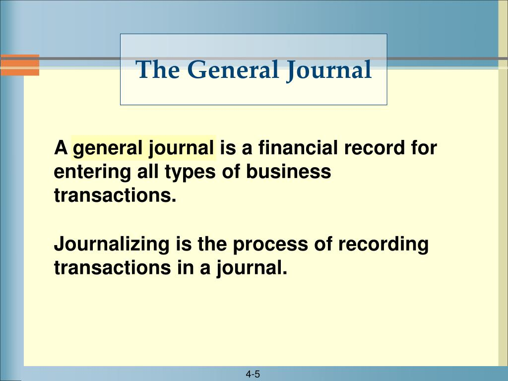 A general journal is a financial record for entering all types of business transactions.