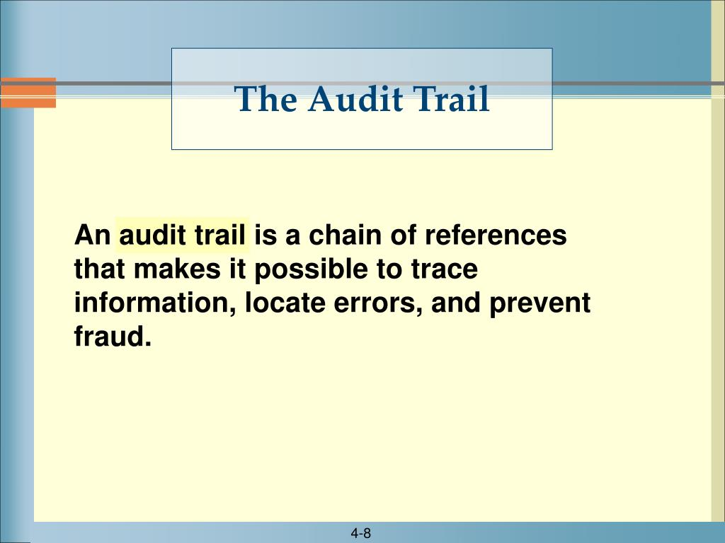 An audit trail is a chain of references that makes it possible to trace information, locate errors, and prevent fraud.