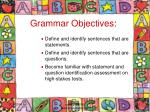 grammar objectives