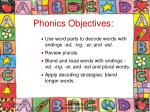 phonics objectives