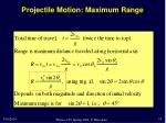 projectile motion maximum range
