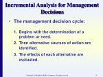incremental analysis for management decisions