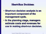 short run decisions